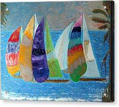 Boats At Sunset 1 Acrylic Print