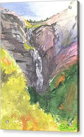 Acrylic Print featuring the painting Bridal Veil Falls by Sherril Porter
