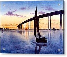 Bridge At Sunset Acrylic Print by John YATO