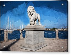 Bridge Of Lions St Augustine Florida Painted  Acrylic Print