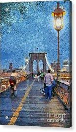 Brooklyn Bridge Promenade Acrylic Print by George Atsametakis