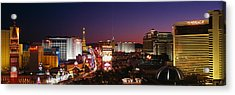Buildings Lit Up At Night, Las Vegas Acrylic Print by Panoramic Images
