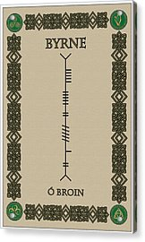 Acrylic Print featuring the digital art Byrne Written In Ogham by Ireland Calling