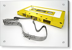Cassette Tape And Musical Notes Concept Acrylic Print by Allan Swart