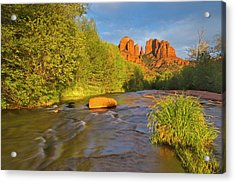 Cathedral Rocks Reflect Into Oak Creek Acrylic Print
