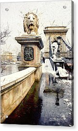 Chain Bridge In Budapest Acrylic Print by Odon Czintos