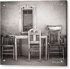 3 Chairs Acrylic Print by Sherry Davis