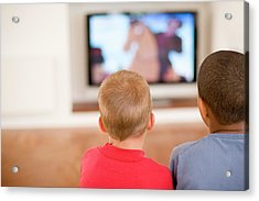 Children Watching Television Acrylic Print by Ian Hooton/science Photo Library
