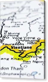 close up of vientiane on map-Laos Acrylic Print by Tuimages