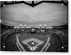 Comiskey Park Night Game - Black And White Acrylic Print