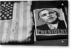 Commercialization Of The President Of The United States Of America In Black And White Acrylic Print by Rob Hans