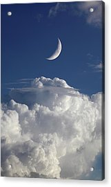 Crescent Moon In Cloudy Sky Acrylic Print by Detlev Van Ravenswaay