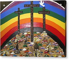 3 Crosses And A Rainbow Acrylic Print