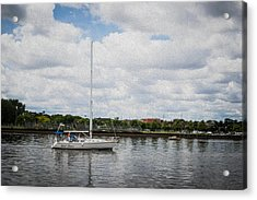 Cruising The Saginaw River Acrylic Print by Tom Causley