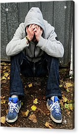 Depressed Teenager Acrylic Print by Cordelia Molloy