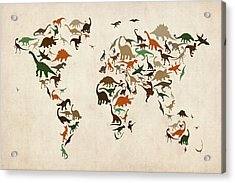 Dinosaur Map Of The World Map Acrylic Print