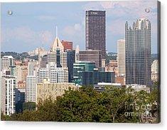 Downtown Skyline Of Pittsburgh Pennsylvania Acrylic Print by Bill Cobb