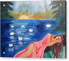 Acrylic Print featuring the painting Dreaming At Lotus Lake by Diana Riukas