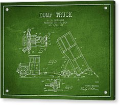 Dump Truck Patent Drawing From 1934 Acrylic Print by Aged Pixel