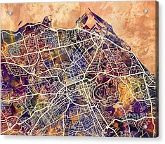 Edinburgh Street Map Acrylic Print by Michael Tompsett
