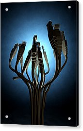 Ethernet Abstract Silhouettes Acrylic Print by Allan Swart