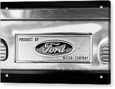 Powered By Ford Emblem -0307bw Acrylic Print by Jill Reger