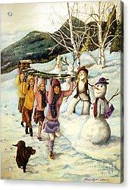 Frosty Frolic Acrylic Print by Linda Simon