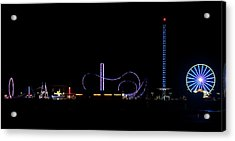 Galveston Texas Pleasure Pier At Night Acrylic Print