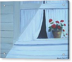 Geraniums On Windowsill Acrylic Print by Glenda Barrett