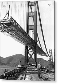 Golden Gate Bridge Work Acrylic Print by Underwood Archives