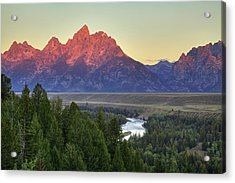 Acrylic Print featuring the photograph Grand Tetons Morning At The Snake River Overview - 2 by Alan Vance Ley