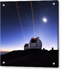 Guide Lasers Over Mauna Kea Observatories Acrylic Print by Babak Tafreshi