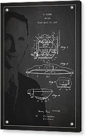 Henry Ford Engine Patent Drawing From 1928 Acrylic Print by Aged Pixel
