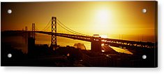 High Angle View Of A Suspension Bridge Acrylic Print by Panoramic Images
