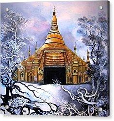 Interpretive Illustration Of Shwedagon Pagoda Acrylic Print by Melodye Whitaker
