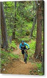 Jared Lynch Mountain Biking The North Acrylic Print by Chuck Haney