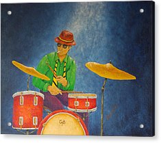 Jazz Drummer Acrylic Print by Pamela Allegretto