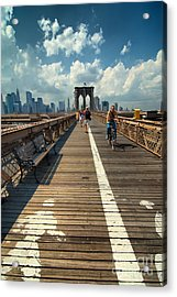 Lanes For Pedestrian And Bicycle Traffic On The Brooklyn Bridge Acrylic Print by Amy Cicconi