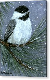 Let It Snow Chickadee Acrylic Print by Sandra Estes
