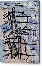 Lines And Birds Acrylic Print by William Cauthern