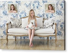 3 Little Girls And A White Rabbit Acrylic Print