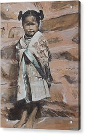 Little Hopi Girl Acrylic Print by Terri Ana Stokes