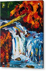 Log And Waterfall Acrylic Print