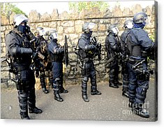 Loyalist Protesters Attack Police Lines Acrylic Print by Andrew Chittock