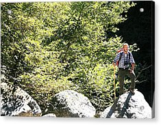 Man Hiking In The Sun Acrylic Print by Mauro Fermariello/science Photo Library