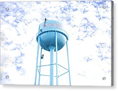 3 Men Painting The Blue Springs Water Tower Acrylic Print by Andee Design
