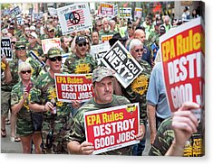 Miners Rally Against Coal Burning Limits Acrylic Print by Jim West