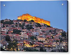 Molyvos Village During Dusk Time Acrylic Print