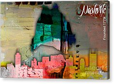 Nashville Skyline And Map Watercolor Acrylic Print by Marvin Blaine