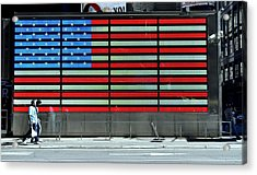 Neon American Flag Acrylic Print by Allen Beatty